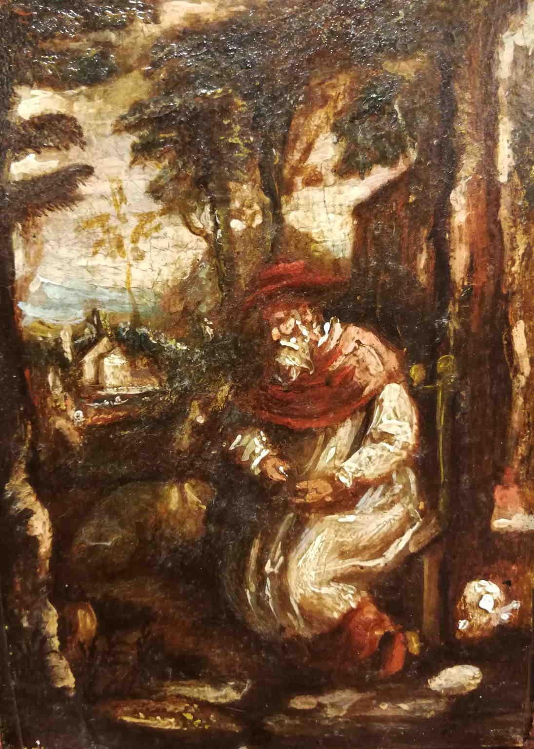 Veneto Baroque Religious Painting 17 century oil paper wood