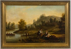 A.S - Framed 1856 Oil, Landscape with Figures and River