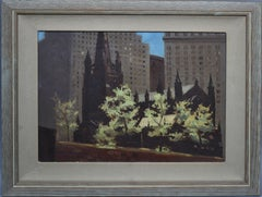 Ashcan School Modernist Oil Painting View of New York City & Trinity Church
