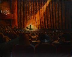 Ashcan School, New York City Theatre View, 1920's Opera Signed Oil Painting