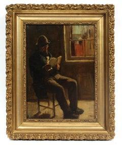 Ashcan School Oil Painting Portrait Man Interior Cityscape Gold Framed New York