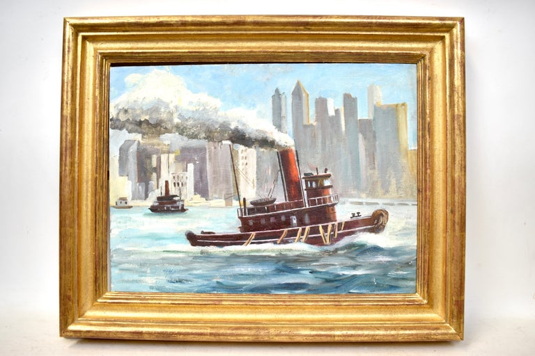 Ashcan School View of New York City Harbor with a Tugboat Original Oil Painting - Beige Landscape Painting by Unknown