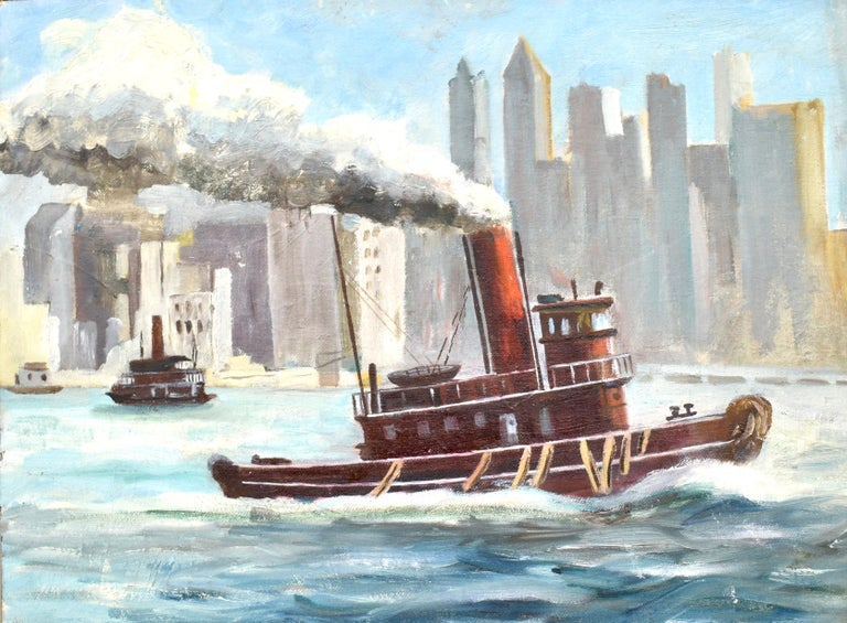 Modernist view of New York City with a TugBoat.  Oil on board, circa 1930.  Unsigned.  Displayed in a giltwood frame.  Image size, 16