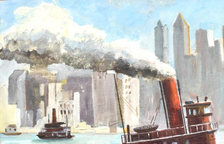 Ashcan School View of New York City Harbor with a Tugboat Original Oil Painting For Sale 1