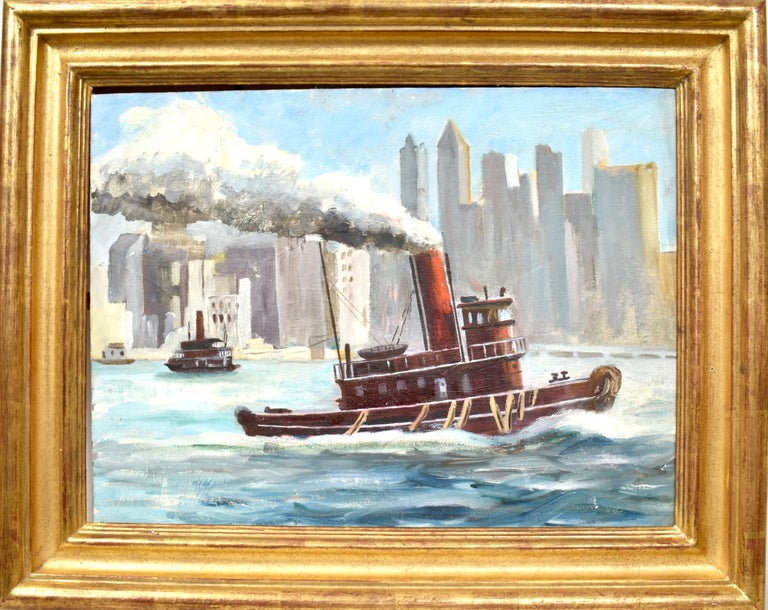 Unknown Landscape Painting - Ashcan School View of New York City Harbor with a Tugboat Original Oil Painting