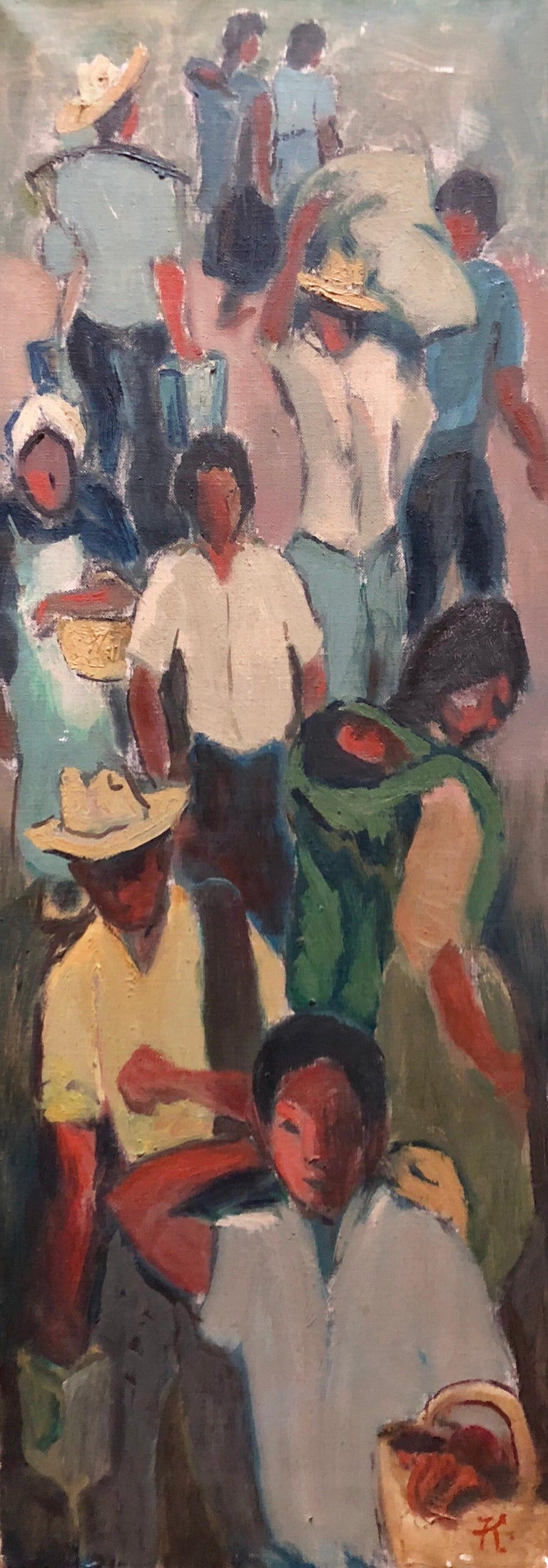 Asian Workers in the Market WPA Style Social Realist Oil Painting - Black Figurative Painting by Unknown