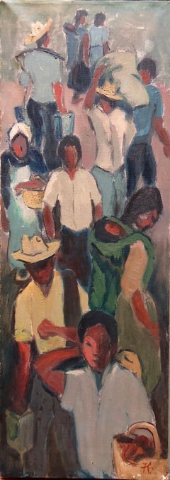 Asian Workers in the Market WPA Style Social Realist Oil Painting