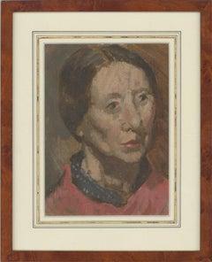 Attrib. Patrick Edward Phillips RP RWS (1907-1976) - Oil, Woman in Red Shirt