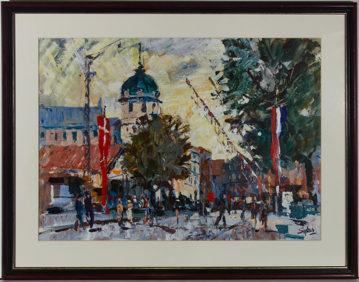 Aubrey Sykes (1910-1995) - Mid 20th Century Acrylic, Impressionist Street Scene