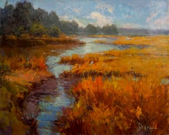 Autumn Marsh, Plein Air Landscape Original Fine Art Oil on Linen Canvas