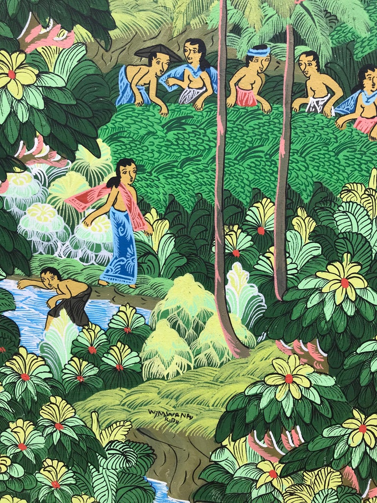 """""""Balinese Figural Landscape 1"""" - Painting by Unknown"""
