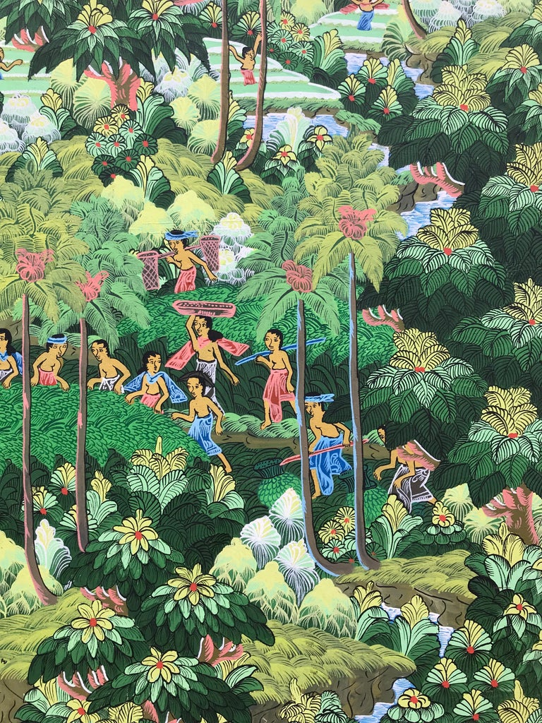"""""""Balinese Figural Landscape 1"""" - Contemporary Painting by Unknown"""