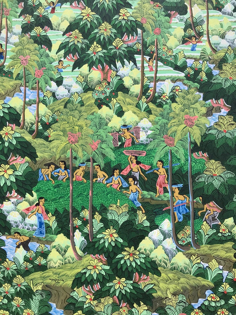 """""""Balinese Figural Landscape 1"""" - Brown Figurative Painting by Unknown"""