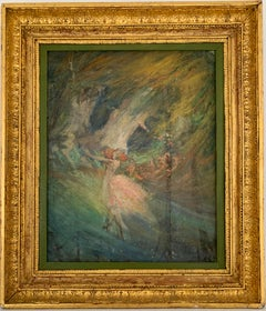 Ballet Dancers Performance c. 1900 French Impressionist Oil Painting on Canvas