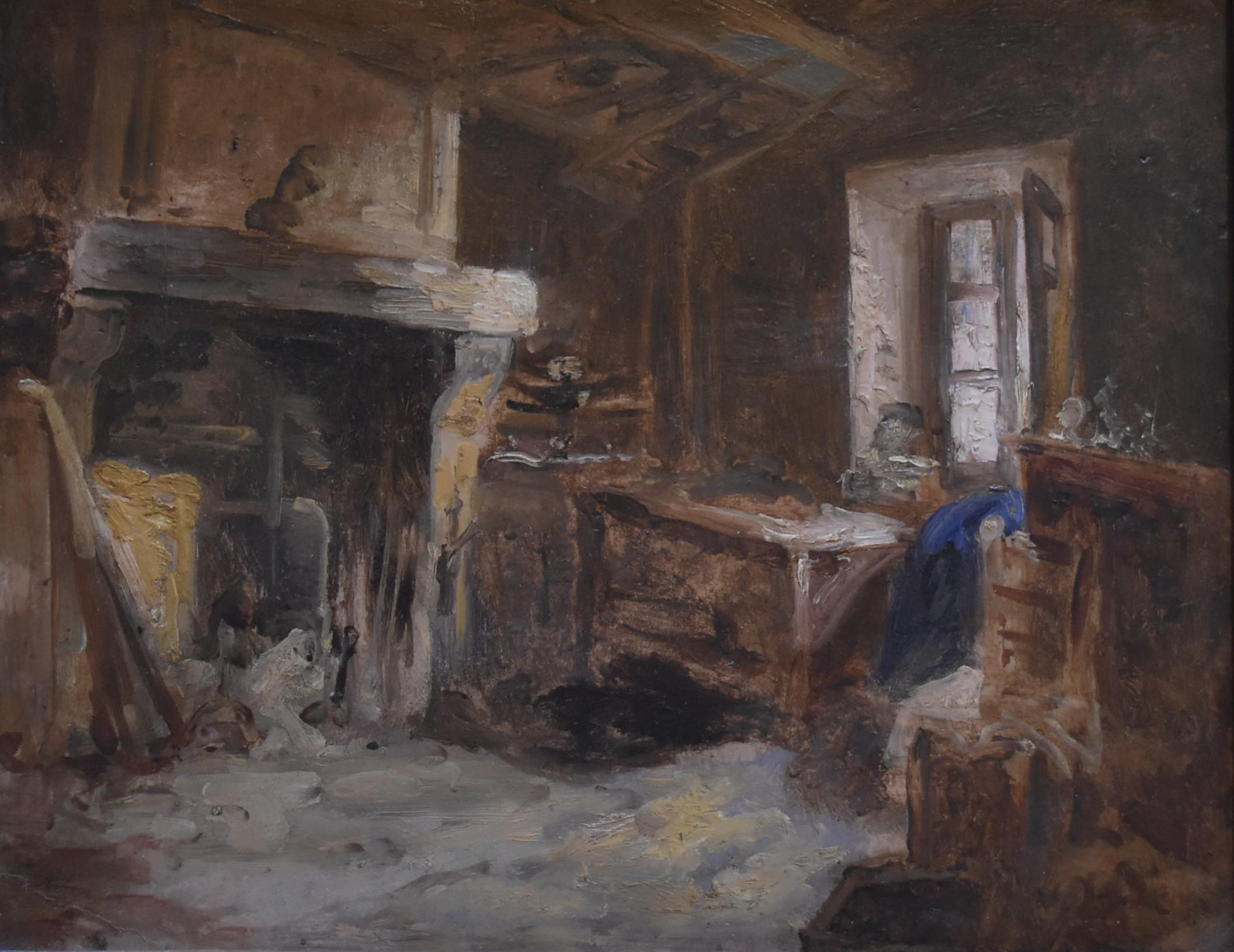 Barbizon School,  A Cottage interior, Oil