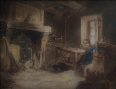 Barbizon School, Att to Charles Jacque (1813-1894)  Cottage interior, Oil
