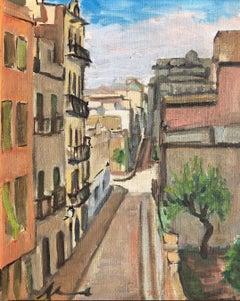 Barcelona street view original oil painting spanish artist