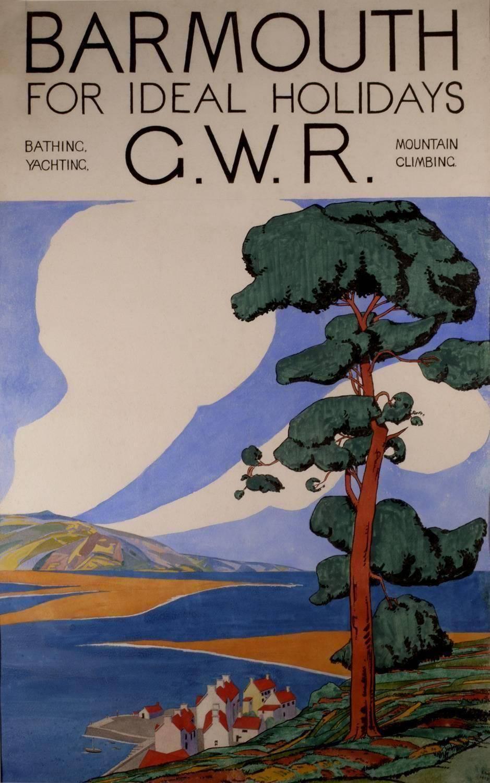 Barmouth - Original Advertising Artwork, Early 20th Century Art Deco Watercolour