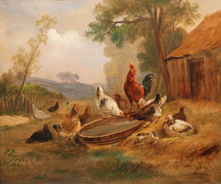 Barnyard Gathering - Painting by Unknown