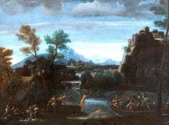 Bathers On A Mountainous River Landscape 17th Century Italian Bolognese School