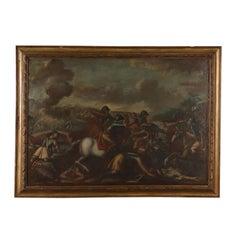Battle Scene Large Oil on Canvas 17th Century