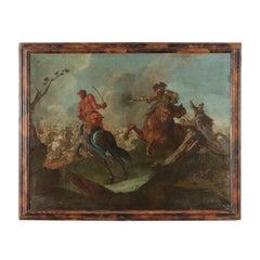 Battle Scene Oil On Canvas 17th Century