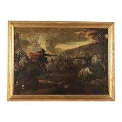 Battle Scene, Oil on Canvas, Lombard School, 17th Century