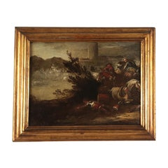 Battle Scene, Oil on Canvas, Neapolitan School, Italy 17th Century