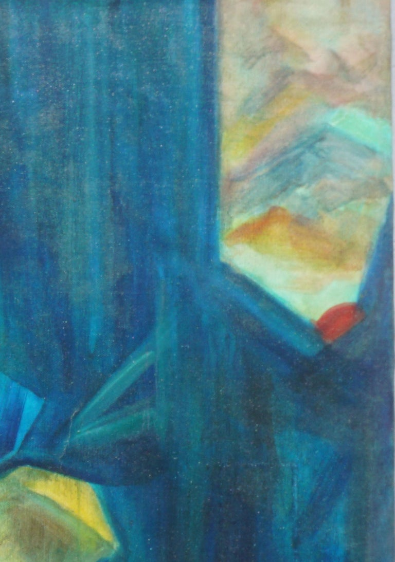 Mid Century Bay Area Abstract Expressionist Landscape - Blue Abstract Painting by Unknown