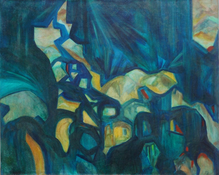 Unknown Abstract Painting - Mid Century Bay Area Abstract Expressionist Landscape