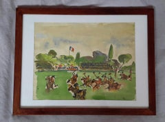 """Beautiful French Watercolor 1930's, """" Polo Tournament in Hippodrome d'Auteuil"""""""