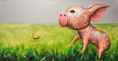 """""""Best Friends Series IV"""", Comic Animals Modern Pop Art, Playful Piggy & Chick"""