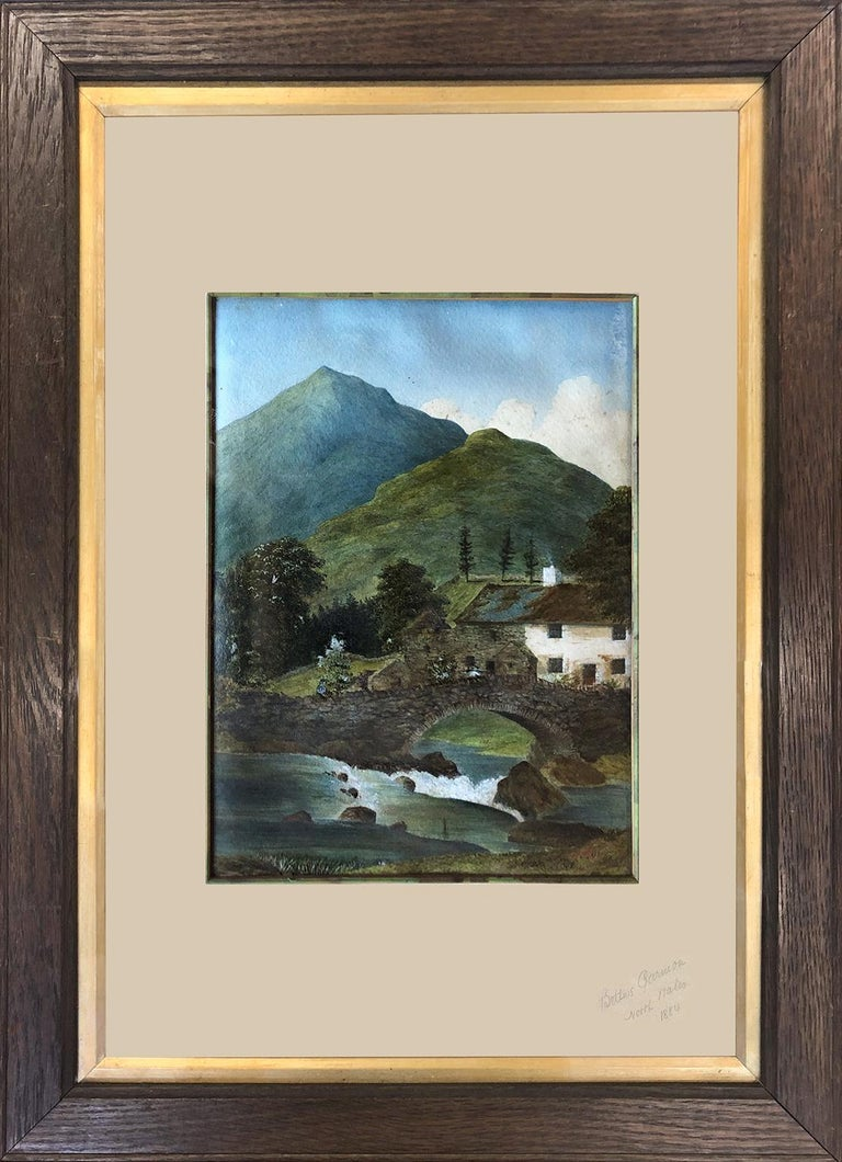 A Charming example of Outsider Art from the late 1800's, portraying the beauty of Betws Garmon. Betws Garmon is a community and small hamlet outside Waunfawr and near Beddgelert in Gwynedd, Wales. The summit of Snowdon lies within the community