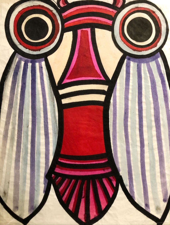 """""""Big Eyed Bug I"""" Whimsical 1970s Gouache Bug Painting"""