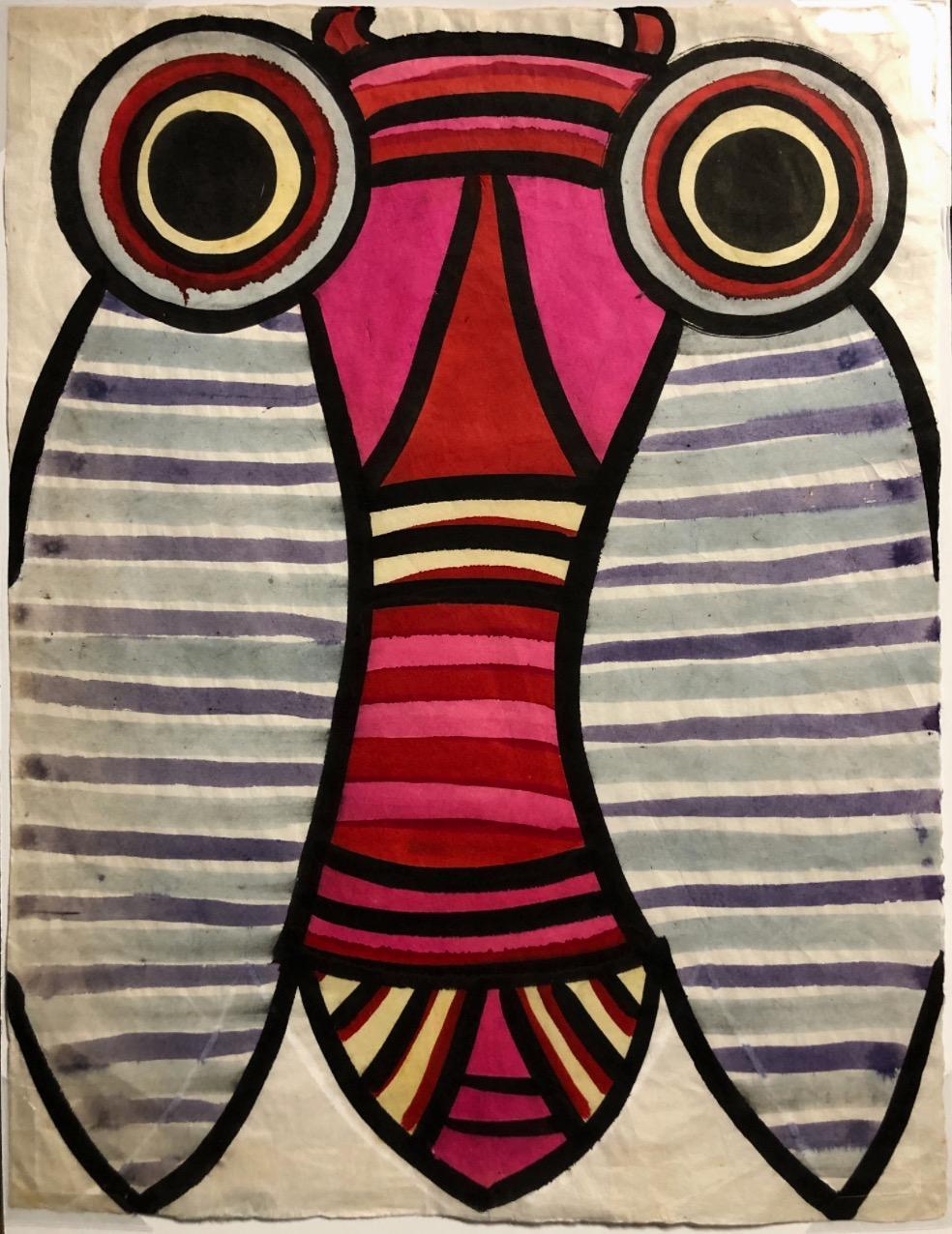 """""""Big Eyed Bug II"""" Whimsical 1970s Gouache Bug Painting"""