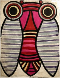 """Big Eyed Bug II"" Whimsical 1970s Gouache Bug Painting"