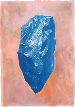 """Blue Boulder on Pink"" 100x70cm Cyanotype and Painting on Paper, Burnt Orange"
