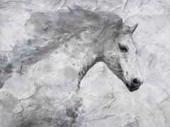 Blue Sky Horse White Horse Fine Art Embellished Giclee on Canvas Irena Orlov