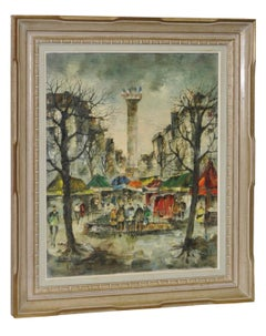 Blvd Richard-Lenoir, Paris Mid Century Oil Painting c.1950s