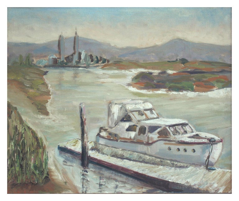 Boat at Moss Landing - California Landscape - Painting by Unknown