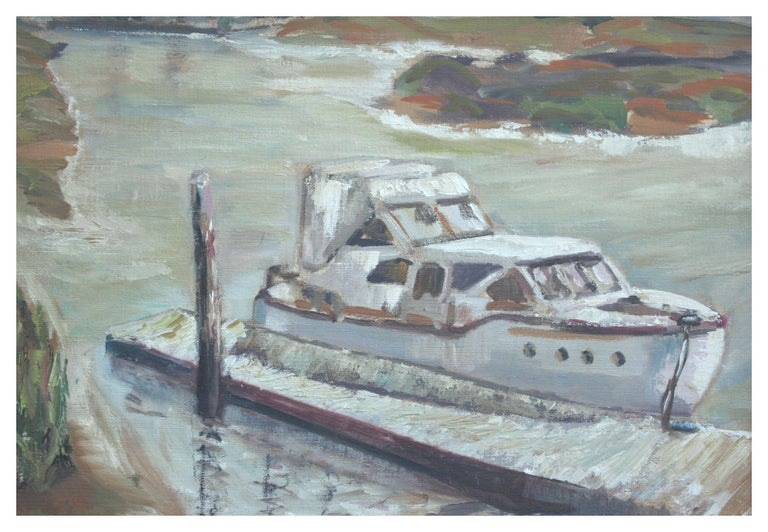 Boat at Moss Landing - California Landscape - American Impressionist Painting by Unknown