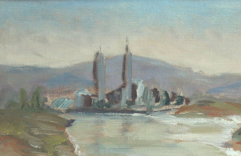Boat at Moss Landing - California Landscape - Gray Landscape Painting by Unknown