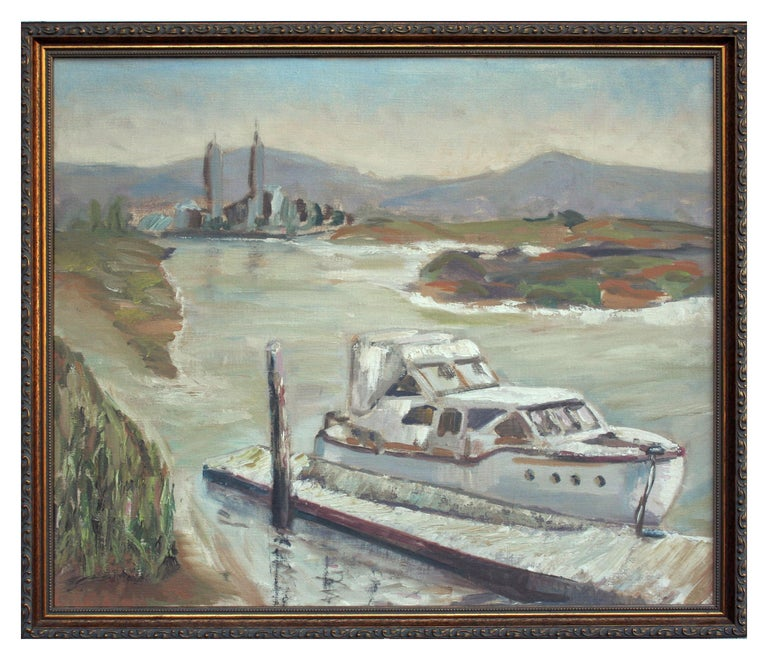 Unknown Landscape Painting - Boat at Moss Landing - California Landscape