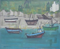 Boats at St Jean de Luz France by Jacouton Mid Century c1957