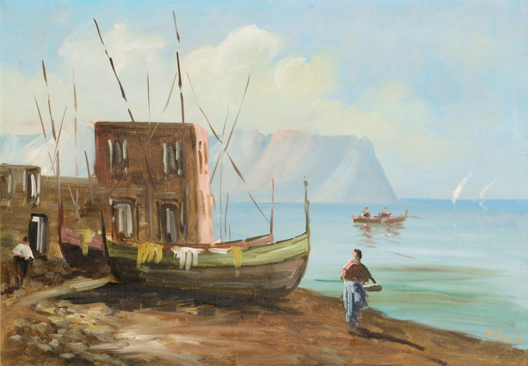 Boats on the Shore - Landscape - Painting by Unknown