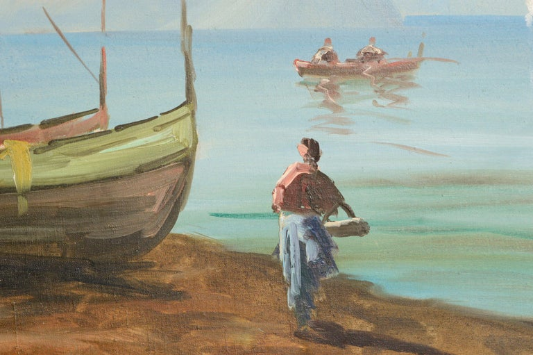 Boats on the Shore - Landscape - Brown Figurative Painting by Unknown