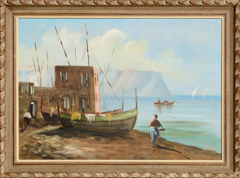 Unknown Figurative Painting - Boats on the Shore - Landscape