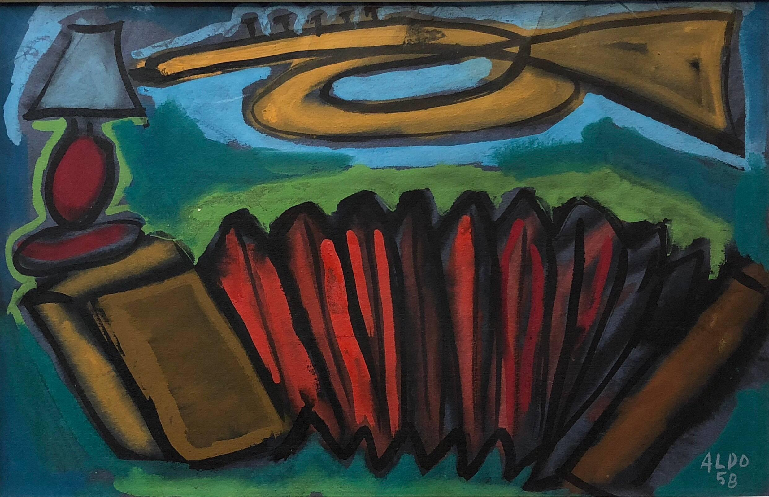 Bold Color French Modernist Painting 1958 Signed Aldo Abstract Still Life