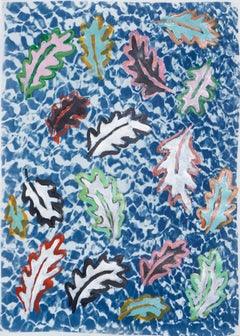 """""""Botanical Leaves Floating on a Pool"""" 50x70cm, Colorful Mixed Media on Cyanotype"""