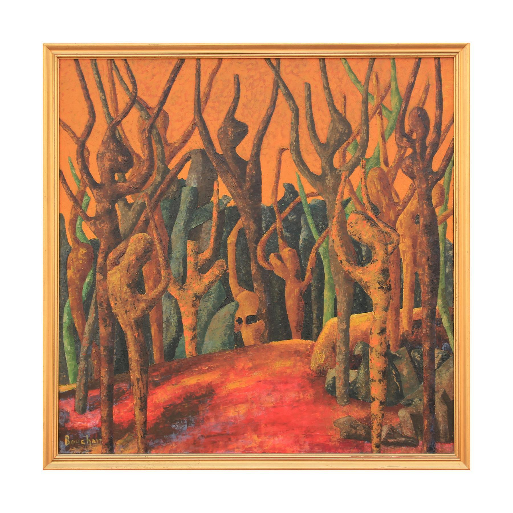 Bouchar Yellow Toned Fauvist Style Tree Landscape